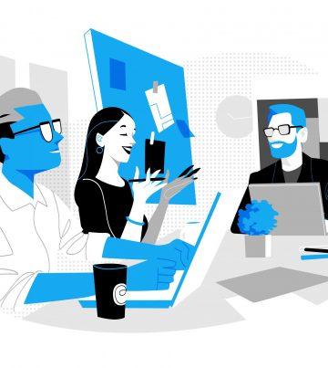 Gruppo di giovani professionisti che lavora insieme in ufficio
